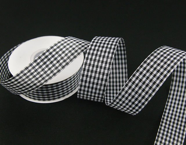 Checkered Ribbon Blackwhite 25cm Ribbons Checked Ribbons