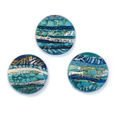 Cabochon CM Striped round 24 turquoise