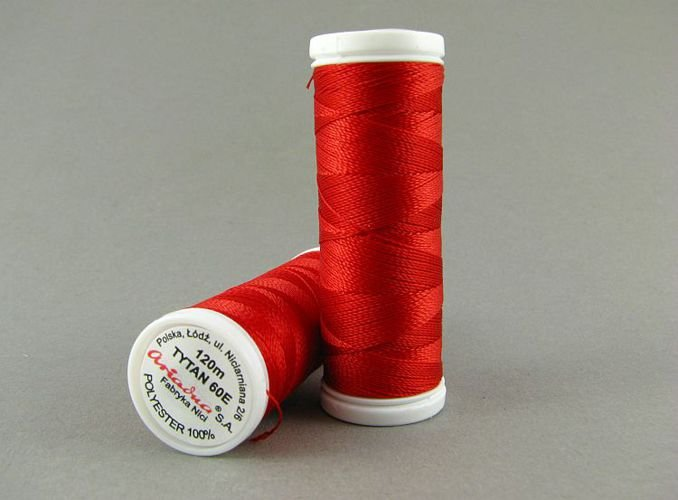 Tytan soutache and bead embroidery thread red
