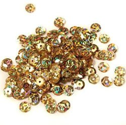 Sequins round 6mm, gold with glitter effect