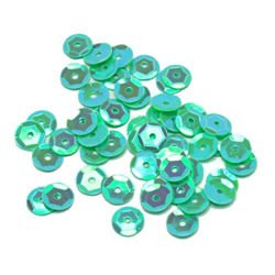 Sequins round 6mm, pearly iridescent, light green