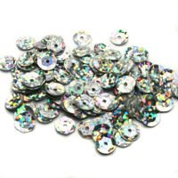 Sequins round 6mm, silver with glitter effect