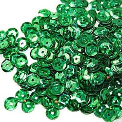 Sequins round 6mm, green with glitter effect