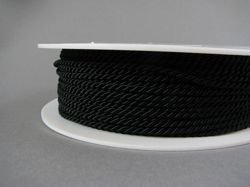 2mm SATIN TWISTED CORD - BLACK // A7001