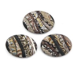 Cabochon CM Striped oval 18x25 brown