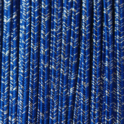 Greek braid 4mm mix silk + lurex - cornflower with silver, 1m