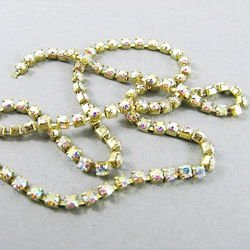 Rhinestone cupchain with Preciosa crystals ss 8,5 (~2,5mm) Crystal AB, raw, 10cm