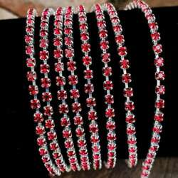 Rhinestone cupchain with Preciosa crystals ss 8,5 (~2.5mm) Ruby, silver, 10cm