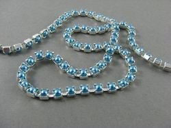 SS14,5 (3,5mm) PEARL CUPCHAIN - TURQUOISE, SILVER-PLATED