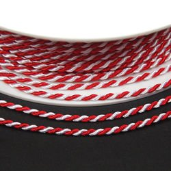 Satin twisted cord 2mm, white and red