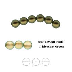 Swarovski 5810 Crystal Pearl 6 mm Iridescent Green (IGPRL), new color!