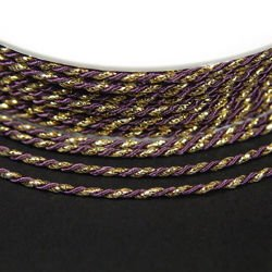 Twisted cord 3,5 mm, purple and gold