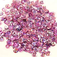 Sequins round 6mm, pink with glitter effect