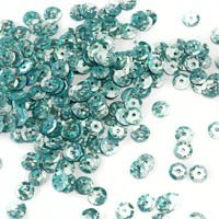 Sequins round 6mm, steel-blue with glitter effect