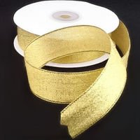 Brocade ribbon 2.5cm, bright gold