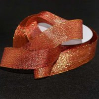 Brocade ribbon 2.5cm, red and gold