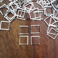Geometric metal frame, silver, square small 1.2x1.2cm, 4 pcs