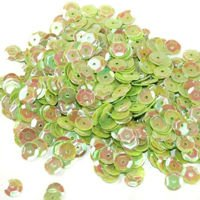 Sequins round 6mm, pearly iridescent, bright green