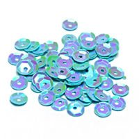Sequins round 6mm, pearly iridescent, light blue