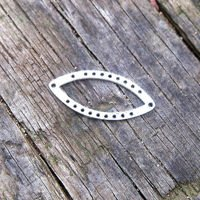 Steel base for beads, silver color, nawette 1x2.3cm, 1 piece