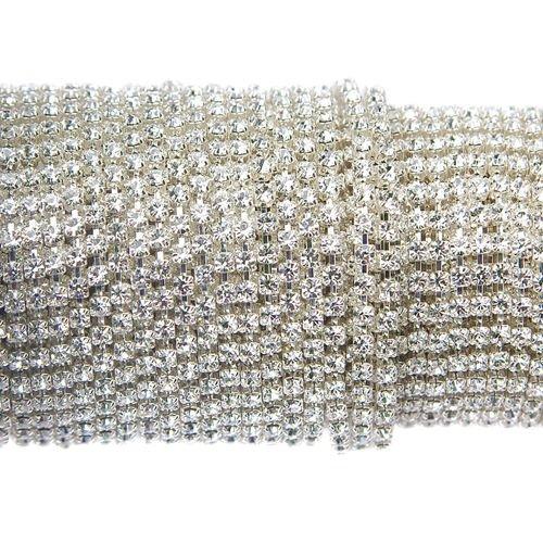 Modish Taśma z kryształkami Preciosa ss 8,5 (~2,5 mm) Crystal / silver NA43