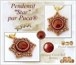 Cabochon par Puca®: Opaque Coral Red New Picasso, 18 mm, 1 szt.
